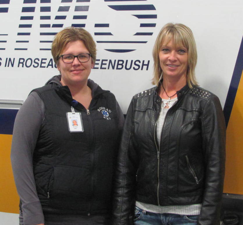 Shown left to right are two members of the LifeCare Greenbush EMS staff, Amber Clark and Trina Gust.