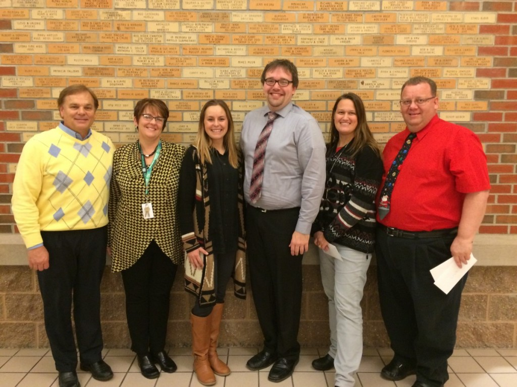 The East Grand forks Education Foundation recently awarded $8,468 in grants to the following ISD #595 teachers.  Those pictured left to right are as follows: Principal Jim Torkelson accepting for Jennifer Rose, South Pointe for online teaching program BrainPop; Tricia Fore, South Pointe, Special Education library reading materials; Katie Nelson, New Heights, STEM materials for 2nd graders;  Donovan Hanson, Central Middle School, choral music library materials; Tina Haaven, South Pointe, science machine kits; Principal Lon Ellingson accepting for Jared Sanger, Central Middle School & Senior High, VEX Robotics Competition Kit and Morgan Piper-George, Central Middle School, Early Childhood Communications iPads & apps