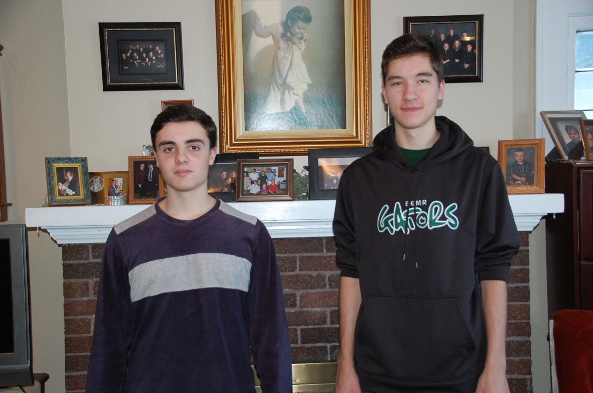 Foreign exchange students Gonzalo Bodemer of Madrid, Spain, and Yannik Kroeller- Fernandez of Dorsten, Germany, both arrived in the United States on September 4 as part of a nine-month stay in the country, specifically at the rural Badger home of Mitch and Carol Then. (photo by Ryan Bergeron)