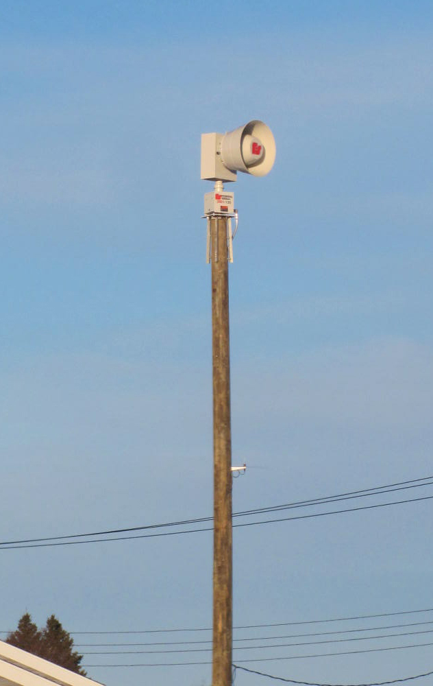This new Federal Signal 130 Rotating siren, situated next to the Greenbush  Fire Department building, was activited on December 9, 1016.