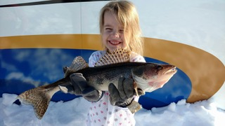 Four year old Elizabeth Determan, sauger, Long Point Resort