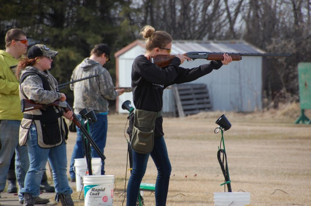 Gator Clay Buster Anissah Novacek focuses in as she takes aim at her target during rounds at the Greenbush Trap Club on April 9. This year, the Freeze has 15 sixth to twelfth grade Marshall County Central students involved and the Gator team has 46 seventh to twelfth grade students involved, including from Badger/Greenbush-Middle River and Karlstad. (photos by Ryan Bergeron)