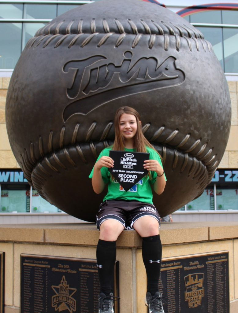 Tessany Blazek is pictured with her second-place trophy which she earned at the 2017 Pitch, Hit and Run competition held at Target Field, home of the Minnesota Twins. (photo by Lynette Blazek)