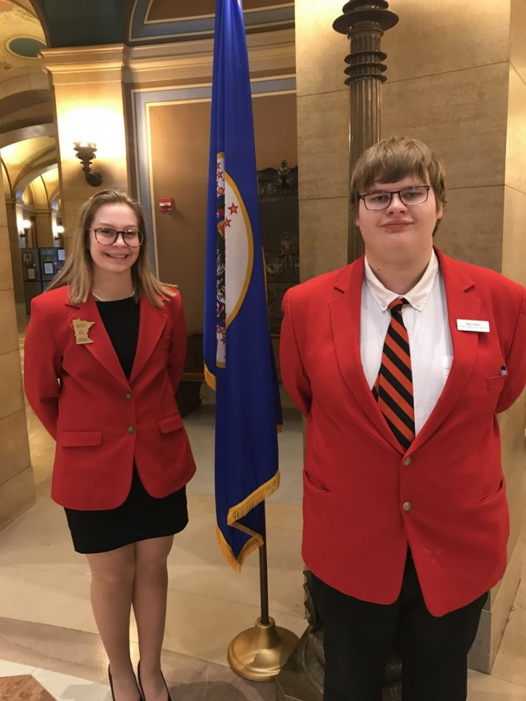 Badger FCCLA students and officers Kennedy Truscinski and Alex Ylitalo pose for a photo inside the State Capitol in St. Paul on a day where they shadowed state legislators. (submitted)
