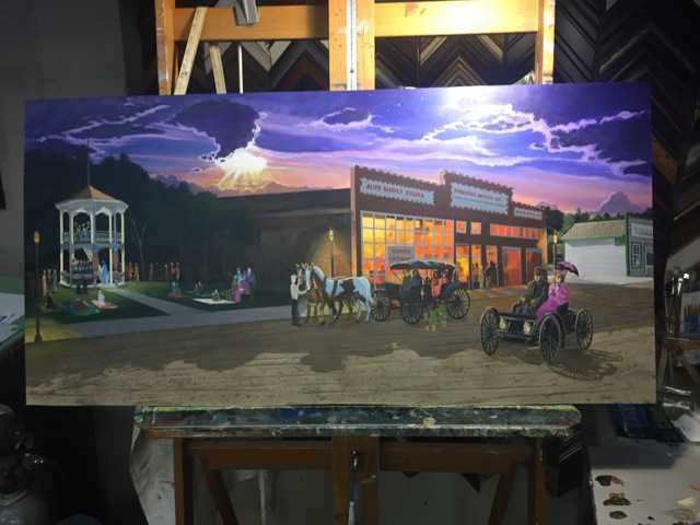 Paul Englund has created this painting of historic Karlstad in 1920.  The painting will be on display in the front window of the North Star News during Moosefest, August 8-12, 2018.