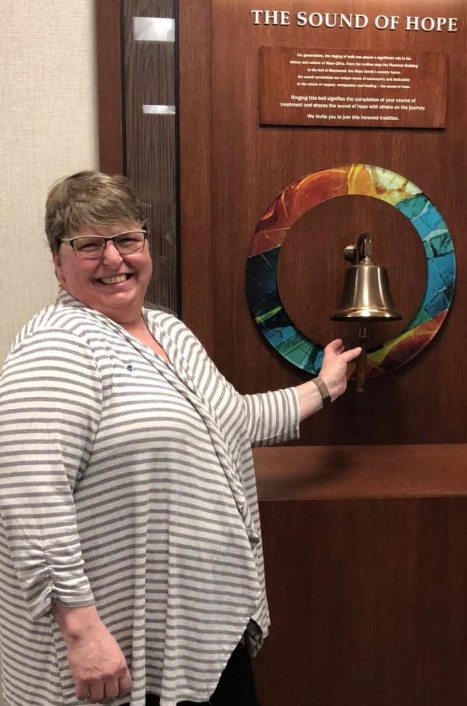 "It was a momentous day when Ronna Seydel of rural Badger ""Rang the Bell"" at Mayo. This signified that Ronna had completed her course of radiation treatments and shared her ""Sound of Hope"" with others on the journey. (submitted photo)"