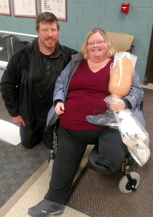 Stacey and Wendy Lee are shown as they were about to depart from the inpatient physical therapy rehab in Grand Forks. The couple was heading home! (submitted photo)