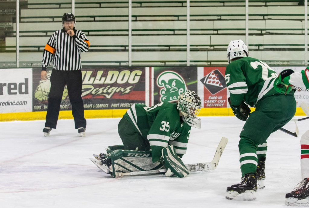 Martinson Officiates a Game Between East Grand Forks and Roseau. (photo by Bruce Brierley)