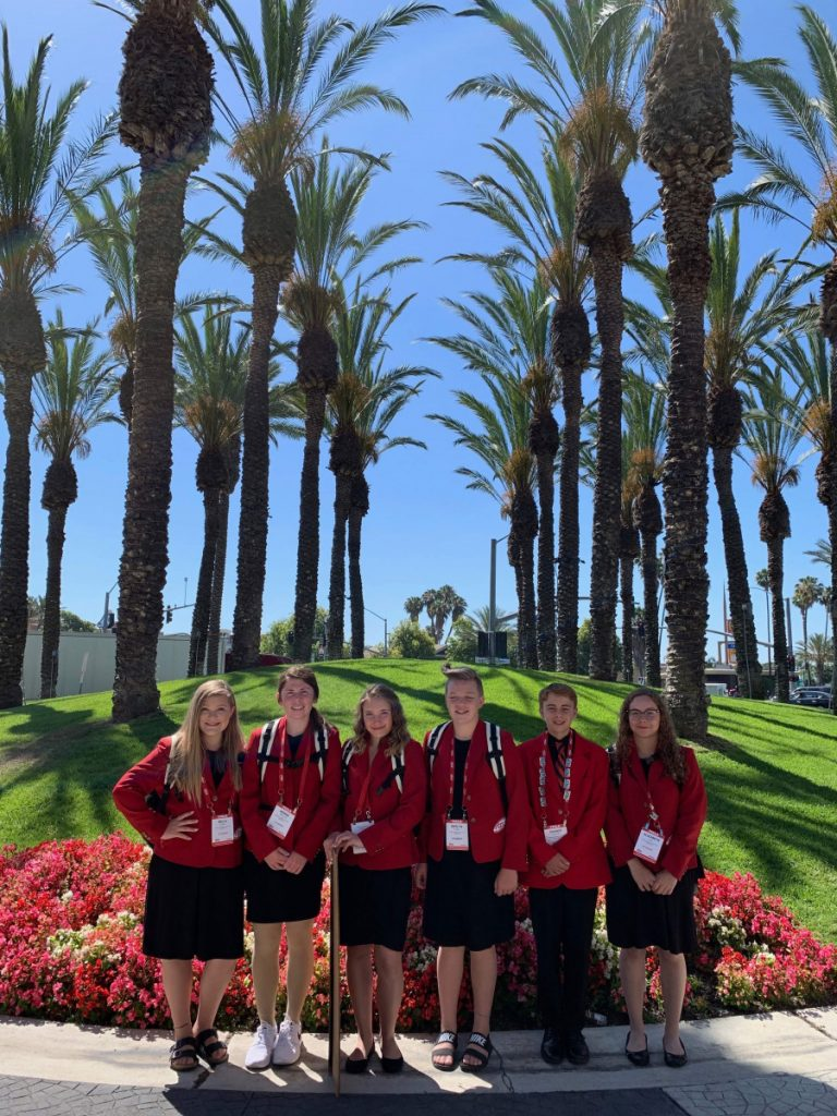 The GMR FCCLA students who attended the FCCLA National Leadership Conference in Anaheim, Calif., held June 30-July 4, pose for a group photo. They are (L-R): Bella Burkel, Honna Westlund, Morgan Reed, Berlyn Burkel, Chance Christian, and Elizabeth Gust. Reed Christian, and Gust advanced to this national conference by virtue of their performances on their individual STAR Event projects at state.(photo by Mara Gust)
