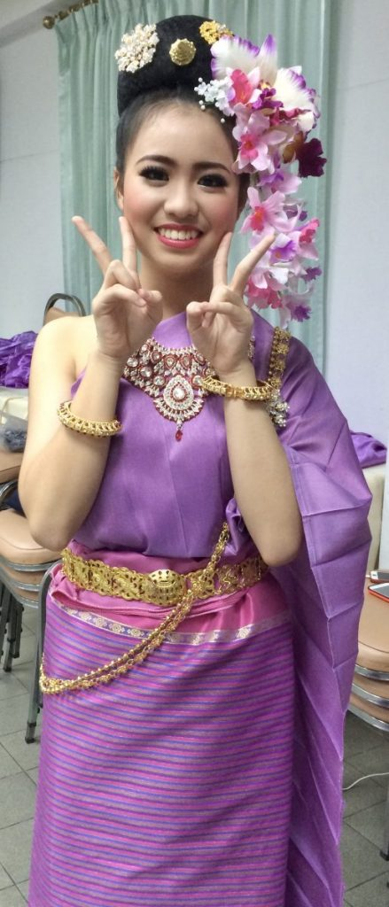 Lydia is pictured in an outfit she wore for Thai dancing at a private school she attended in Thailand. (submitted photo)