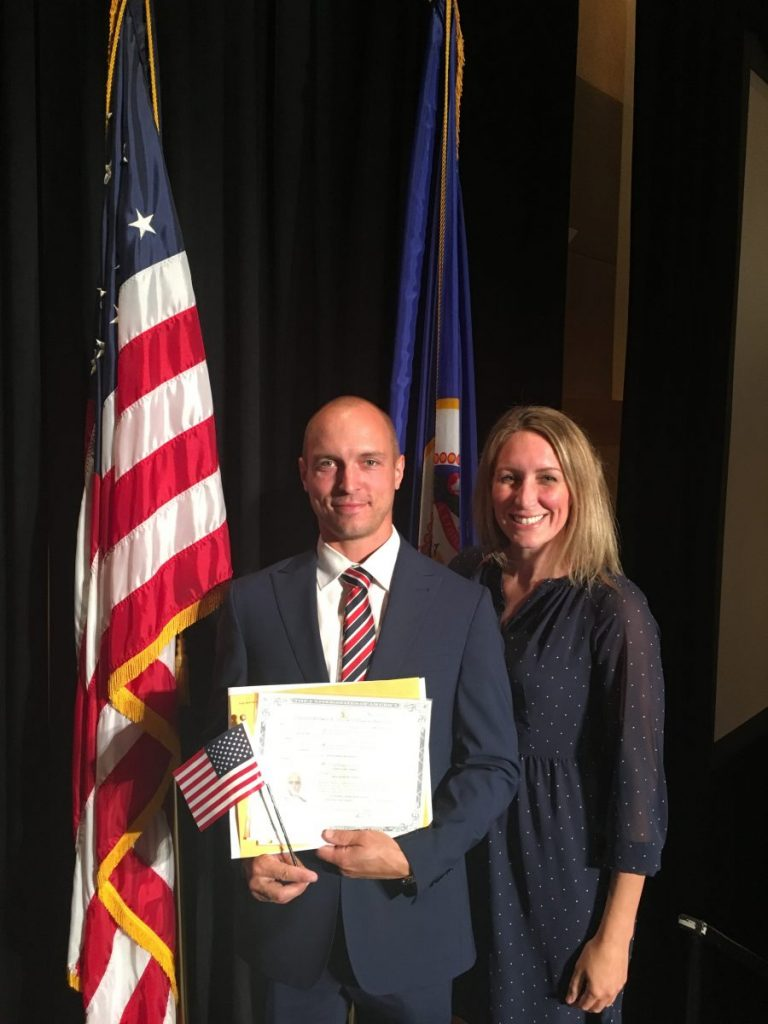 Ulrik and Kayla Aaskov of Greenbush, Minn., are pictured at the Citizenship Ceremony in St. Paul, Minn. (submitted photo)