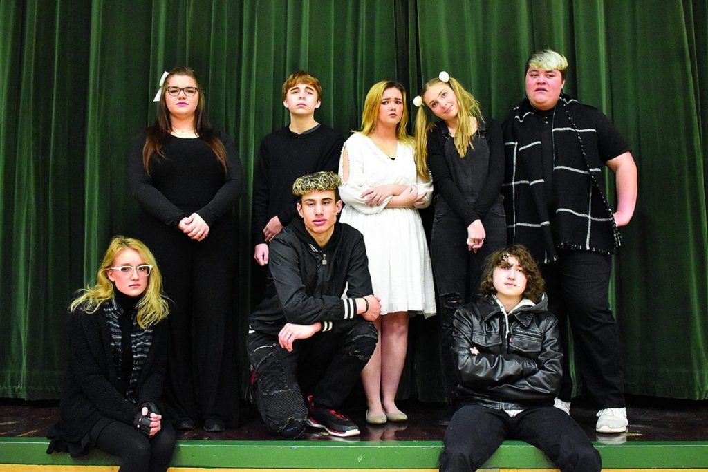 "Greenbush-Middle River One-Act Play cast members pose for a group photo. Under the direction of Kaitlynn Wilson, this crew performed the play ""... And Others"" twice, the first time at the Sub-Section competition on January 25 at Lake of the Woods School and the second time on the GMR School stage on January 30 for students and staff. Cast members are (L-R): Front: Aubre Berg, Gage Creekmore and Gabriel Curfman; Back: Gracie Brandon, Chance Christian, Piper Sondreal, Sarah Stanelle and Michael Diaz. (submitted)"