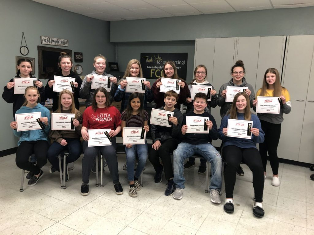 The 15 GMR students to earn their way to the FCCLA State Conference in Bloomington, Minn., on March 25-28 pose for a group photo together. They are (L-R): Front: Brooklyn Wahl, Katelyn Waage, Audrey Gust, Kylie Golovkine, Chance Christian, Cole Blazek and Cassie Dahl; Back: Rhiana Utter, Honna Westlund, Berlyn Burkel, Bella Burkel, Morgan Reed, McKenna Bennett, Elizabeth Gust and Clara Bergsnev. (photo submitted by Laura Dahl)