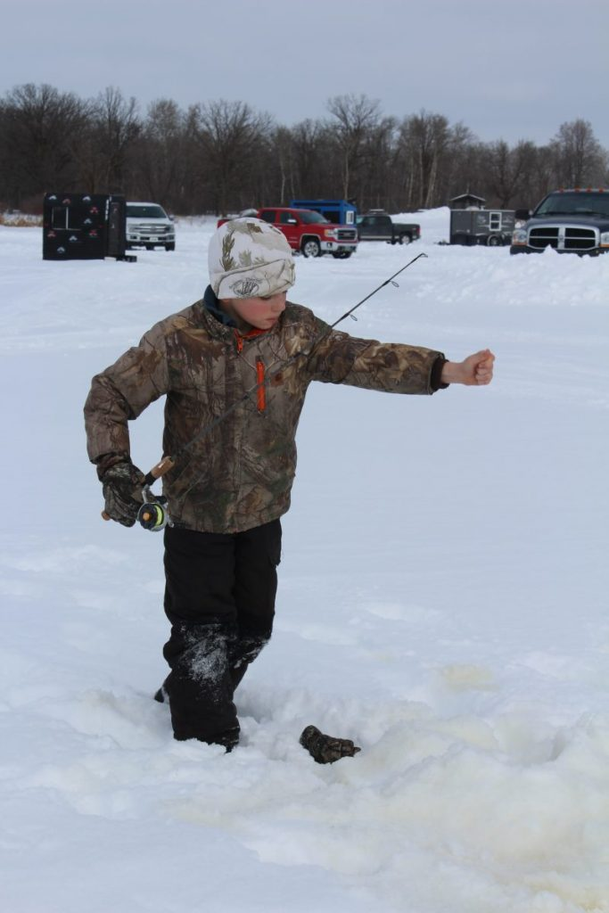 Keegan VonEnde, age 11, of Badger, Minn. participated in the 35th annual Lake Bronson Lions Club fishing derby on Sunday, February 9.