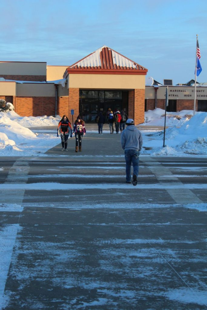 Marshall County Central students at Newfolden must regularly walk across the street between the elementary and high school buildings, a situation which is a safety concern.