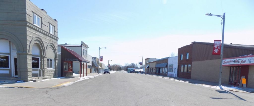 Due to the Coronavirus-19 epidemic, deserted and in a state of bleak and dismal emptiness best describes Greenbush's Main Street appearance. Shown is the south half of Main Street on the afternoon of March 20, 2020. (photo by Mavis Gonshorowski)