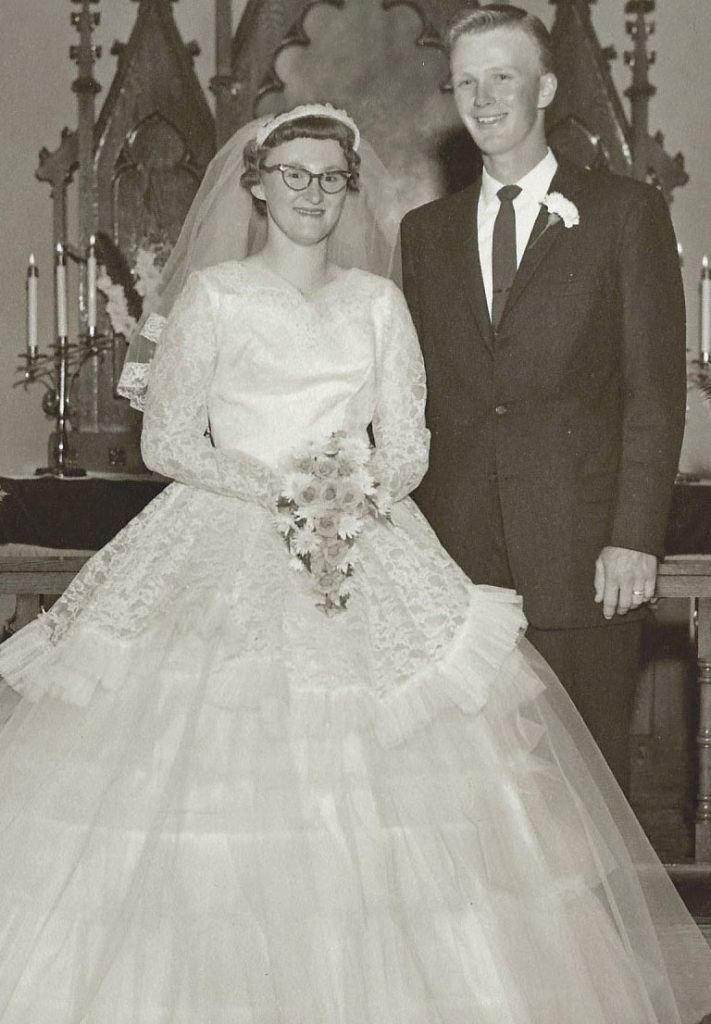 Mr. and Mrs. Ronald Jacobson on their wedding day, May 14, 1960.
