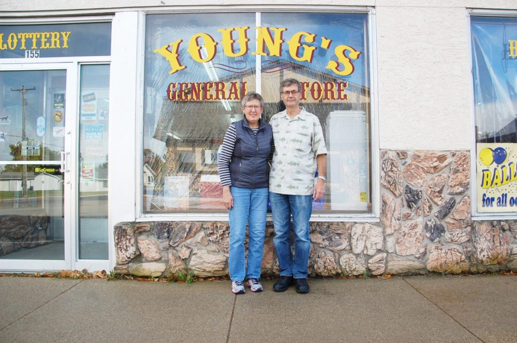 Bobbi and Steve Holm (pictured) and Patsy Young (not pictured) officially sold Young's General Store in Middle River on October 1, putting an end to the 113-year run in which the Young family owned the store. They sold the business to the Stromsodt family of Middle River. (photo by Ryan Bergeron)
