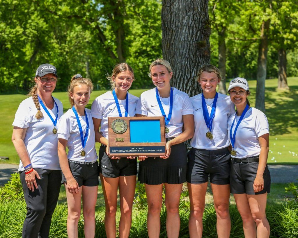 Gator Girls Golf team members and their head coach Valerie Truscinski pose with their Section 8A team trophy following action from the Section 8A Girls Golf Tournament at the Bemidji Town and Country Club on June 1 and 2, clinching the program's fifth state tournament team appearance. Pictured are (L-R): Head Coach Valerie Truscinski, Bethanie VonEnde, Jade Reese, Anissah Novacek, Alyssa Rinde, and Jasmine Christianson. (submitted photo)