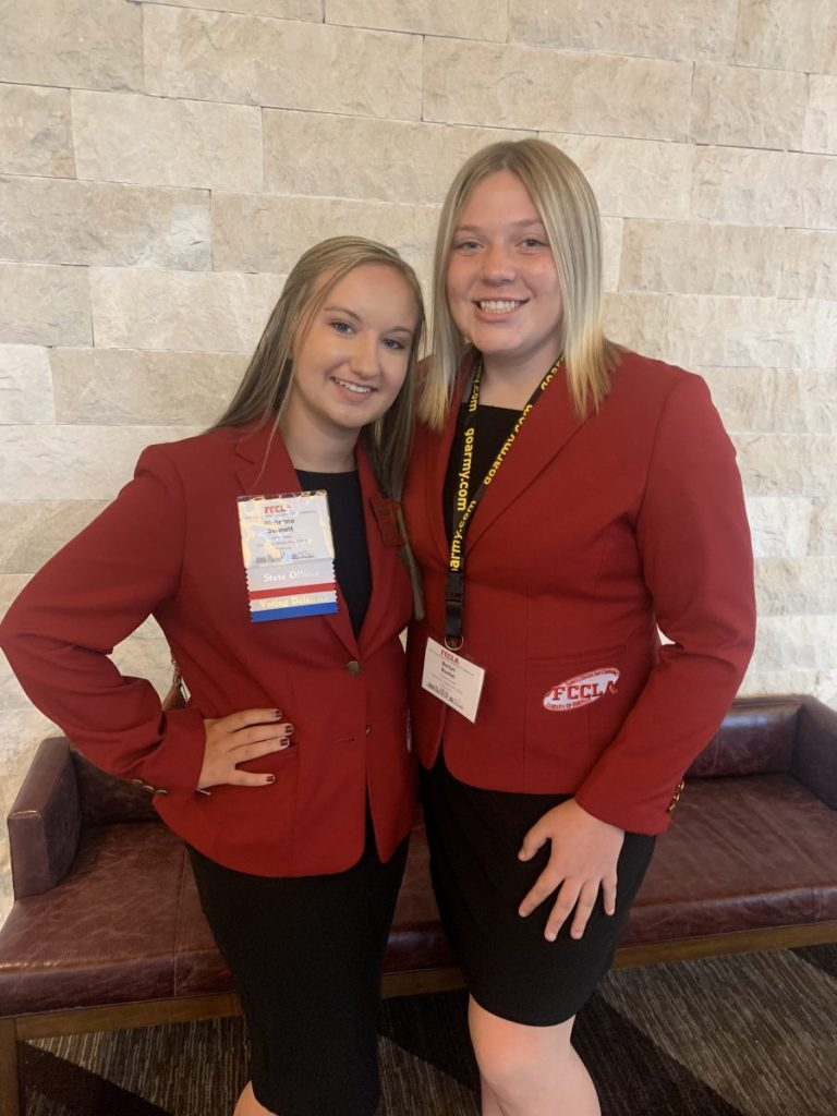 """GMR FCCLA students McKenna Bennett and Berlyn Burkel advanced to the National Conference with their STAR Event projects. Participating in the category of """"Food Innovations,"""" Berlyn earned gold, and, competing under the category of """"Repurpose and Redesign,"""" McKenna earned bronze. (submitted photo)"""