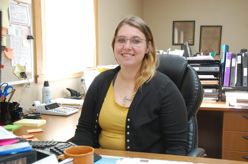 Badger native Hayley (Hendrickson) Moore assumed the role as the new Badger City Clerk on June 22, 2021. She enjoys the changes, challenges, and opportunities to learn new things that this job provides. (photo by Ryan Bergeron)